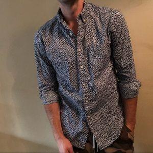 Blue & White Floral Uniqlo Button Down Shirt